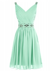 A-Line V-Neck Short Pleated Mint Green Chiffon Dress with Beading