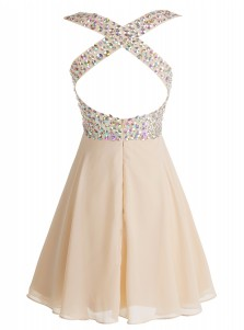 A-Line V-Neck Open Back Short Champagne Chiffon Dress with Beading