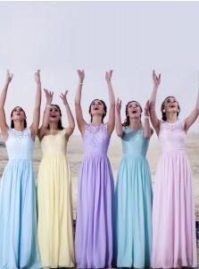New Arrival Free Custom Cap Sleeve Long Lace Bridesmaid Dress