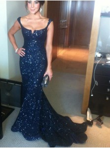 Mermaid Sequare Sweep Train Navy Blue Sequined Prom Dress with Sash