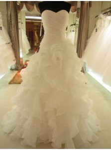 Stunning Mermaid Sweetheart Tiered Organza Long Wedding Dress