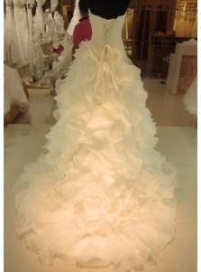 Stunning Mermaid Sweetheart Tiered Organza Long Wedding Dress