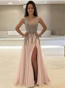 175be933b91 A-Line Deep V-Neck Sweep Train Sleeveless Pink Tulle Prom Dress with  Beading ...