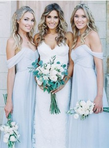 A-Line Off-the-Shoulder Floor-Length Light Blue Chiffon Bridesmaid Dress