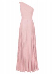 A-Line One Shoulder Floor-Length Pleated Blush Chiffon Dress