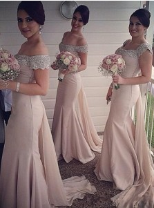 Elegant Beading Off-shoulder Mermaid Long Bridesmaid Dress