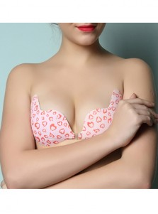 Cute Heart Print Pink Backless Push-up Bra