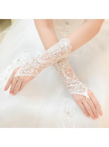 New Style Bridal Lace Rhinestone Fingerless Gloves for Wedding Party Prom