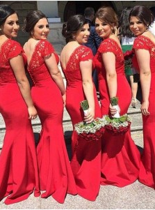 Elegant Mermaid V-Neck Sweep Train Red Bridesmaid Dress with Lace