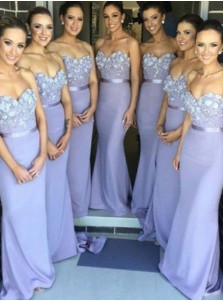 Fashion Mermaid Sweetheart  Floor-Length Lavender Bridesmaid  Dress with Appliques