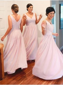 Simple A-Line V-Neck Floor Length Pink Bridesmaid Dress with Ruched