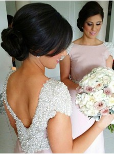 Mermaid Bridesmaid Dress - Pink Bateau Sweep Train Cap Sleeves with Beading