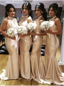 Mermaid Bridesmaid Dress - Champagne Halter Sweep Train