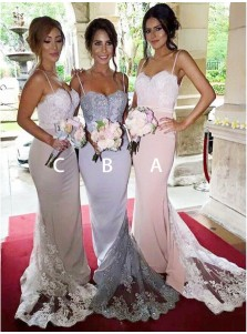 Gorgeous Spaghetti Pink Mermaid Long Bridesmaid Dress with Lace Sequins