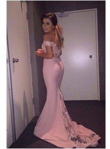 Mermaid Off-the-shoulder Long Prom Dress with Train