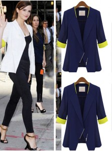 Fashion White Patchwork Slim Short Women's Blazer