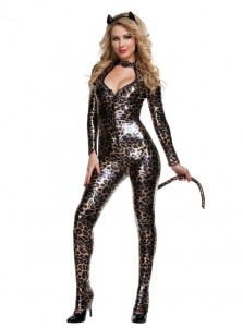 Halloween Sexy Leopard Women PU Costumes