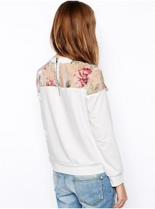White Long Sleeves Round Patchwork Women Hoodies