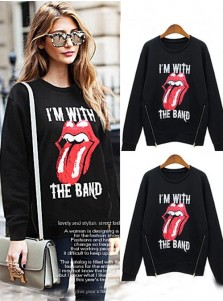 Black Long Sleeves Print of Mouth Women Hoodies