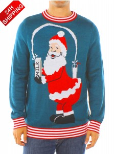Men's Blue Long Sleeves Santa Christmas Sweater