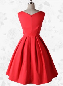 Red Vintage 50s Sleeveless Cotton Rockabilly Party Swing Dress with Belt