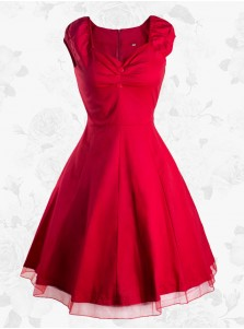 Women Red Vintage 50s Style Retro Rockabilly Party Swing Evening Dress