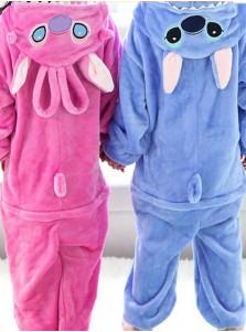 Kids Unisex One-piece Flannel Stitch Pajamas Cosplay Costume