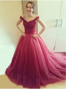 Ball Gown Off shoulder Lace-up Long Quinceanera Dress with Lace Appliques