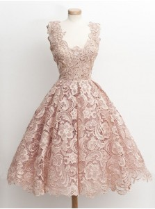 Vintage 50s Style Knee-Length Sleeveless Lace Blush Prom Dress