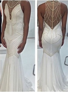 Mermaid Illusion Back Beaded Long Prom dress-High Neck Sleeveless Evening Dress