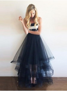 A-Line Strapless Floor Length Navy Blue Prom Dress/Evening Dress with Ruffles