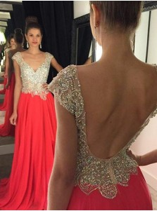 Timeless A-Line V-Neck Cap Sleeves Red Prom/Evening Dress with Beading