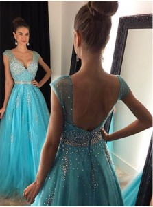 Gorgeous A-Line V-Neck Floor Length Cap Sleeves Prom Dress/Evening Dress with Beading