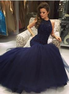 Sexy navy-blue mermaid scoop sleeveless beading prom dress