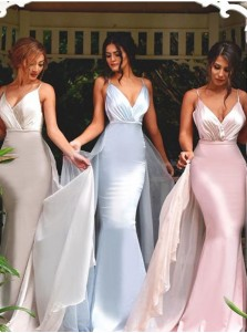 Mermaid/Trumpet V-Neck Sweep Train Stain Ruched Backless Long Blue Prom Dress
