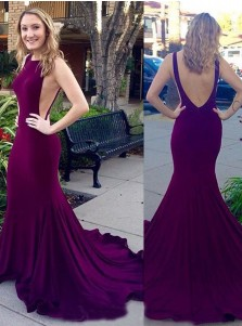Mermaid Crew Court Train Backless Sleeveless Burgundy Stretch Satin Prom Dress