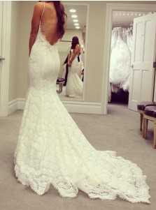 Mermaid Sweetheart Lace Court Train Wedding Dress with Spaghetti Straps