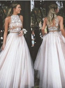 2f50b2af8b5 A-Line High Neck Champagne Backless Tulle Two Piece Prom Dress with  Rhinestone ...