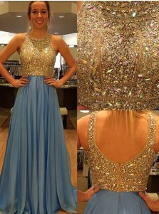 Luxurious A-line Sequined Crew Long Chiffon Prom Dress Party Dress