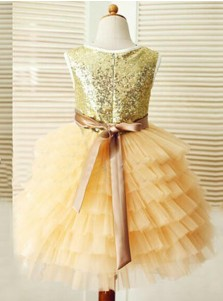 Gold Scoop Ball Gown Tulle Ruffles Flower Girl Dress