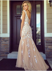 Mermaid Bateau Sweep Train Champagne Tulle Prom Dress with Appliques