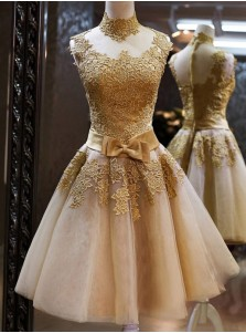 Elegant High Neck Gold Tulle Knee-Length Homecoming Dress with Appliques Bowknot