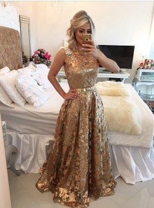 Luxurious Square Long Gold Sequined Prom Dress Beading with Appliques Bowknot