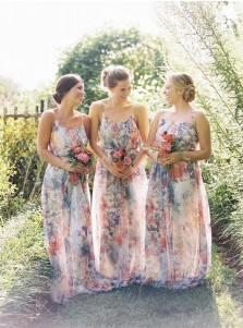 Chic Spaghetti Straps A-Line with Flowey Bridesmaid Dress