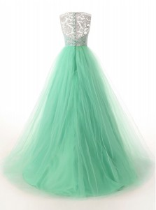 A-Line Bateau Sweep Train Mint Green Tulle Dress with Button Lace