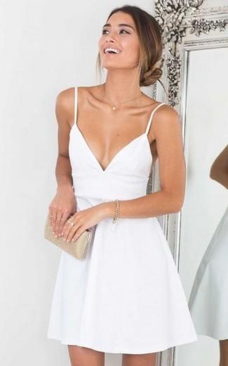 A-Line V-neck Spaghetti Straps White Satin Homecoming Dress