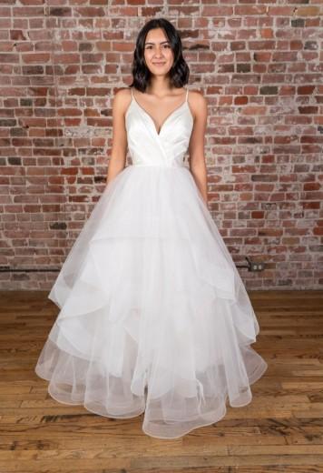 A-line V-neck Straps Floor Length White Satin Wedding Dress with Cascading Ruffles