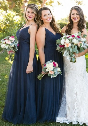 A-Line V-Neck Pleated Navy Blue Tulle Bridesmaid Dress