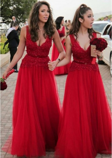 A-Line V-Neck Red Tulle Bridesmaid Dress with Lace Beading