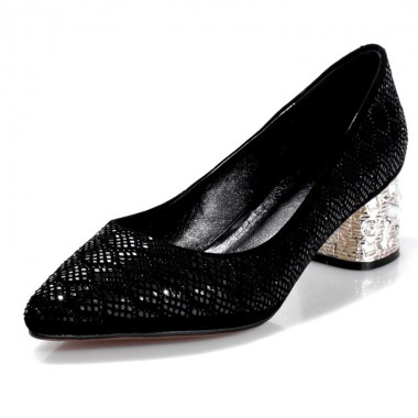 Women's Mid-Heel Black/Royal Blue Prom Shoes with Sequins